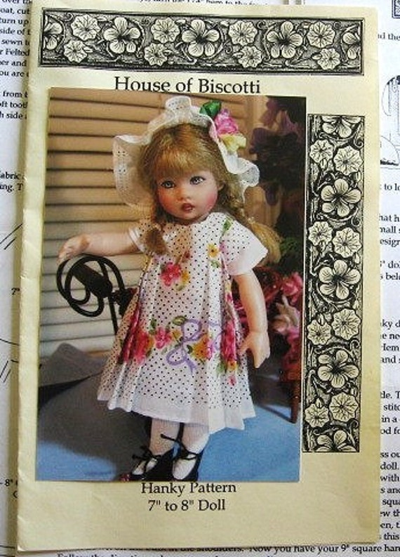House of Biscotti Hanky / Handkerchief Doll Dresses, Coat, Hat, Muff, Playsuit, Fits Dolls 7 inches to 8 inches Tall Uncut