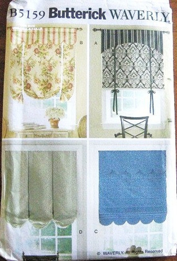"Window Treatments, Valances - 36"", 42"", 48"" Width X 60"" Long - Butterick Waverly Home Decor Sewing Pattern 5159 - Factory Folds"