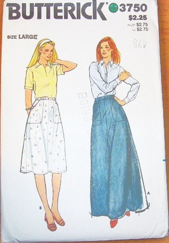Women's Flared Maxi or A-line Midi Skirt with Big Patch Pockets - Vintage 1970s Butterick Sewing Pattern 3750 - Waist 30-32 - Factory Folds