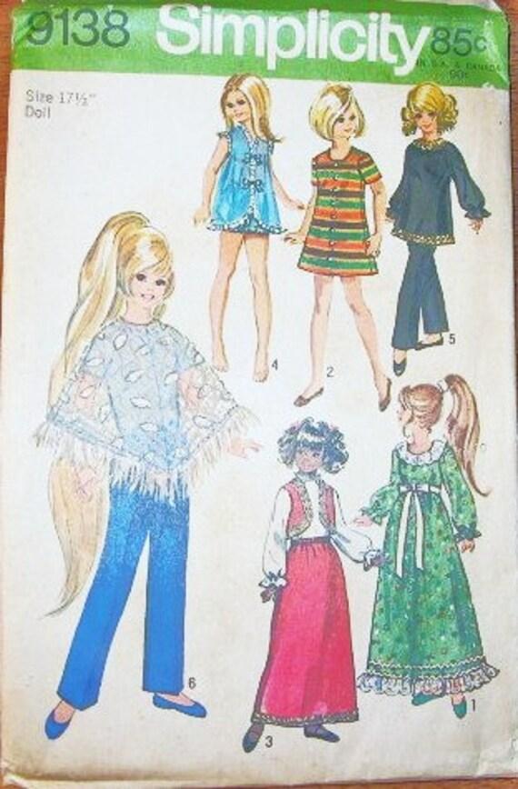 "Crissy Velvet Doll Clothes Wardrobe 15.5"" 17.5"" Dolls Mini Maxi Dress Poncho - Vintage 1970s Simplicity Sewing Pattern 9138 - Factory Folds"