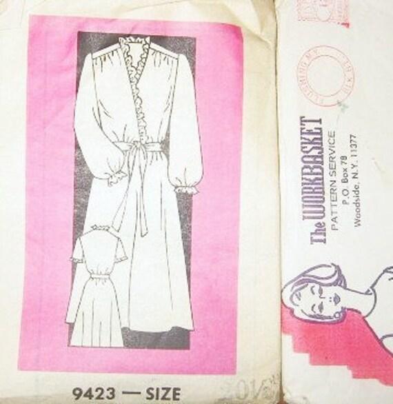 Women's Dress with Surplice Bodice Ruffle Trim - Vintage 1980s Workbasket Mail Order Sewing Pattern 9423 - Half Size Bust 43 - Factory Folds