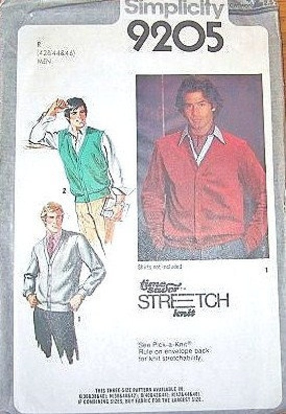 Men's Cardigan Sweater and Button Front Knit Vest - Vintage 1970s Simplicity Sewing Pattern 9205 - Chest 42-46 - Factory Folds