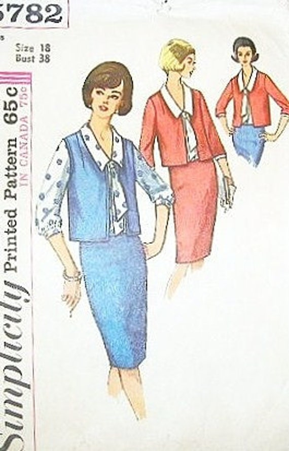 Women's Box Jacket, Blouse with Tie Collar, Slim Pencil Skirt - Vintage 1960s Simplicity Sewing Pattern 5782 - Bust 38