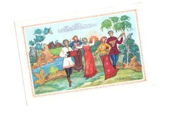 VINTAGE Post card from Russia Soviet Union Greeting post card Happy Holidays Gifts Russian dance Multicolor Fine Art Collectibles by dilma