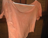 sexy tangerine cream crop top shredded  t- shirt