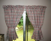 1950's Retro Curtains Black and Candy Cotton Pink Plaid . Super Cute . Very Wide . 1 Pair