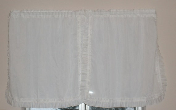Vintage White Ruffled Kitchen Curtains . Sweet Simple Style