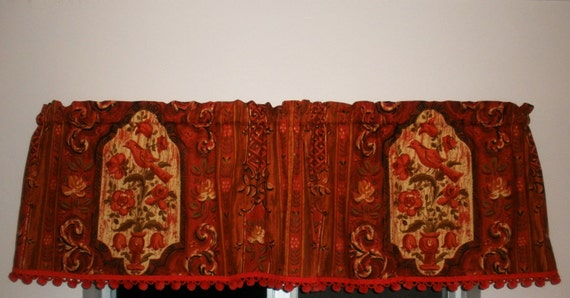 Vintage Valance Cathedral Window Design . Beautiful Rich Colors. Burnt Sienna PomPom Trim