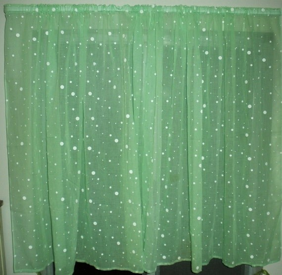 Vintage Mint Green Curtain With White Polka Dots By Seamsoriginal
