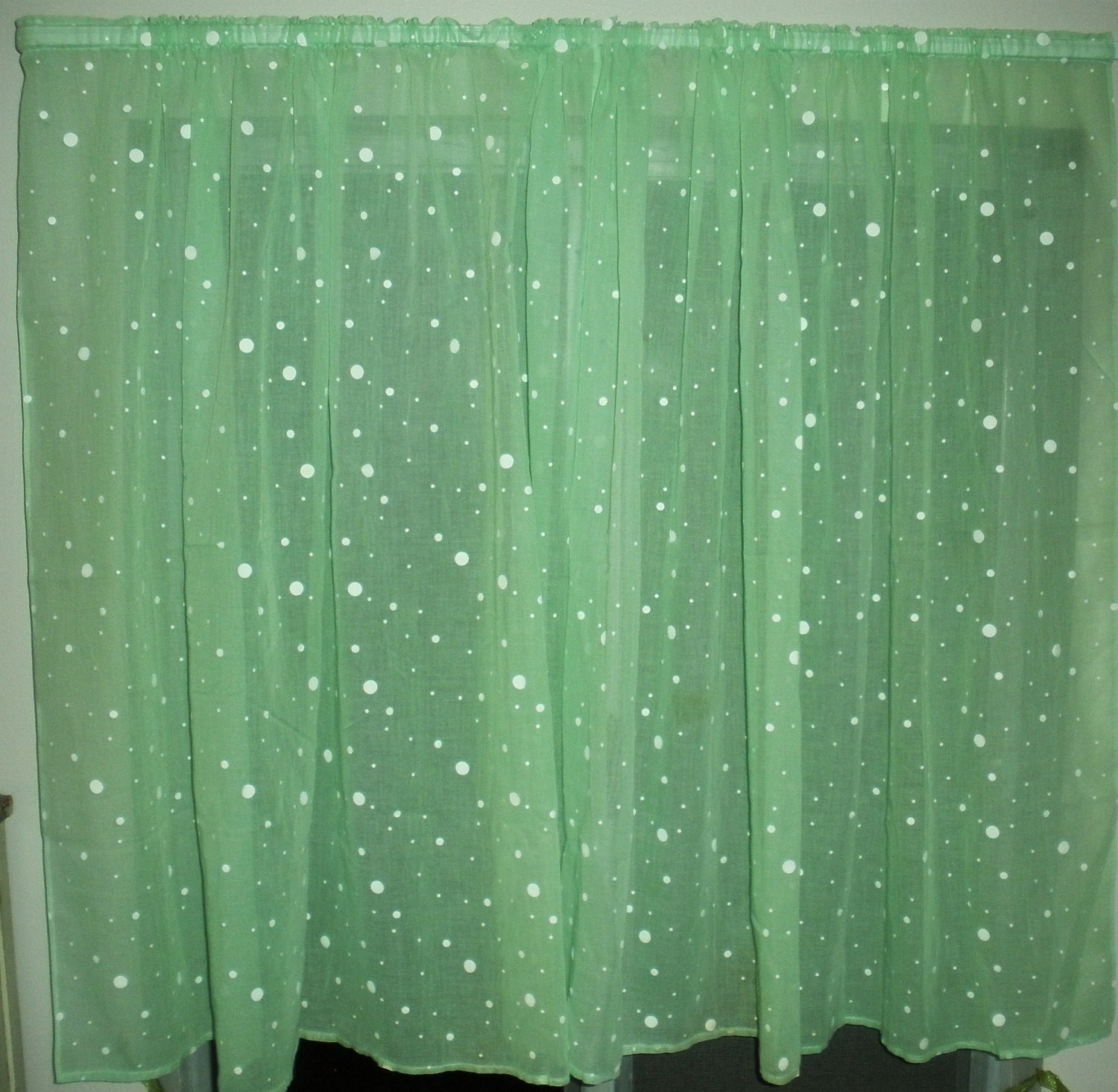 Vintage Mint Green Curtain With White Polka Dots Soft And