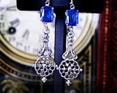 Blue Earrings, Vintage Sapphire Blue Glass Rhinestones, Filigree Silver-Plated Dangle Leverback Earrings - Gift Idea, Wedding, Prom, Party