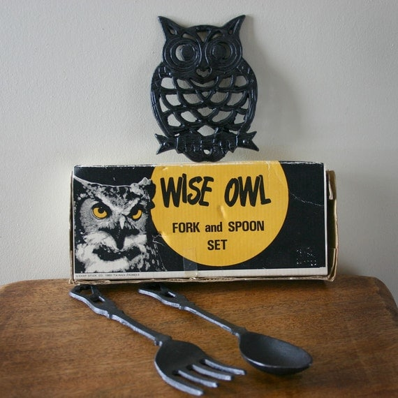 Items similar to wise owl fork and spoon set kitchen decor Owl kitchen accessories