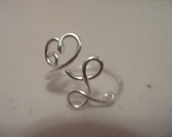 Adjustable Heart and Upper Case L Initial Ring