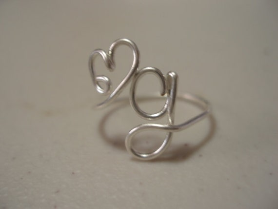Adjustable Heart and letter G Initial Ring