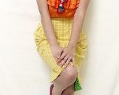 SALE Vintage Inspired Skirt Pencil Reversible Lemon Lime 1950s Retro Plaid Polkadots