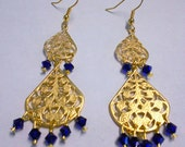 Cobalt & Gold Filigree Earrings