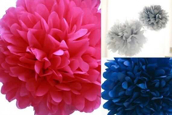6 Nursery Tissue Poms- Navy pink