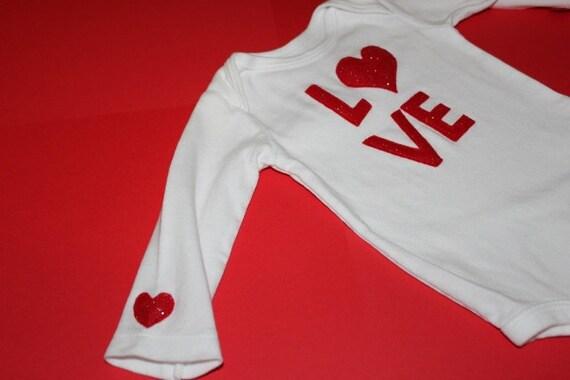 Red glitter L-O-V-E onesie