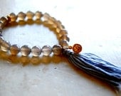 sale- GOLD LOTUS agate ENLIGHTENMENT bracelet with mala tassel
