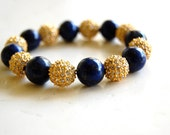LAPIS CRYSTAL bracelet with gold pave balls and lapis lazuli