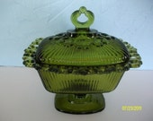 Candy Dish Ornate Green Glass Pedestal Candy Dish with Lid, Catch All Dish, Avocado Green Glass