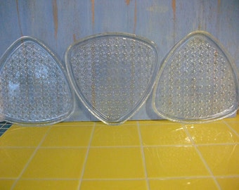 Glass Vintage Triangle Shaped Clear Glass Dessert Plates, Dish Set, Punch Set, Wedding Serving Set
