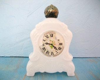 Avon White Milk Glass Vintage Clock Bottle
