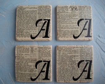 Personalized Custom Coasters / Custom Monogram Vintage Dictionary Page Tile Coasters / Tile Coaster Set