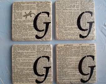 Monogram COASTERS / Custom Monogram Ceramic Tile and Vintage Dictionary Page Decorative Coasters