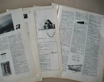 French Dictionary Pages Paper Supply / 40 Pages of Vintage Paper Ephemera / Scrapbook and Art Supply / Craft Supply