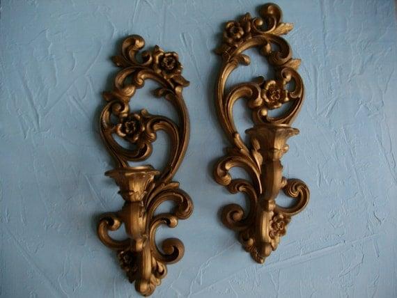 Hollywood Regency Vintage Retro Gold Sconces Candle Holders