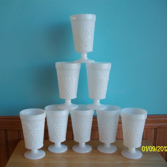 White Milk Glass Pedestal Parfait Goblets Set of 8 Collectible Vintage Grapes and Leaves Design