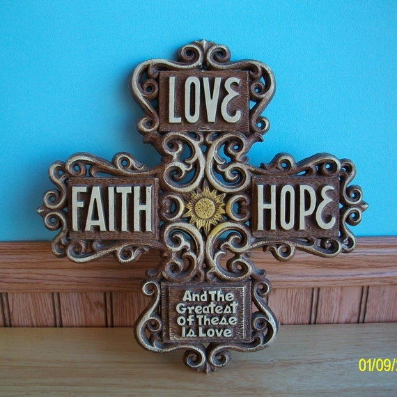 Syroco Retro Love Faith Hope Cross Resin Plastic Plaque by Multi Products Inc. - Wall Decor - Christian Art