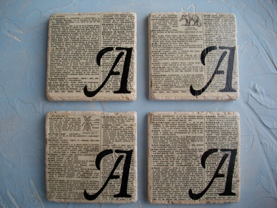 CUSTOM COASTERS  Custom Monogram Natural Stone Tile and Vintage Dictionary Page Decorative Coaster Set  Book Page Art