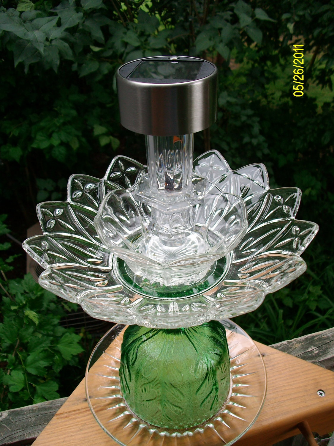 Upcycled recycled glass plate garden solar light for Where to buy solar lights for crafts