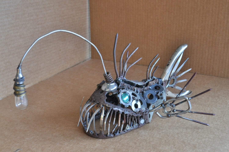 Metal art angler fish sculpture for Metal fish art