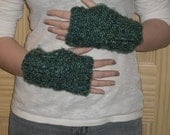 Knitted fingerless gloves Teal