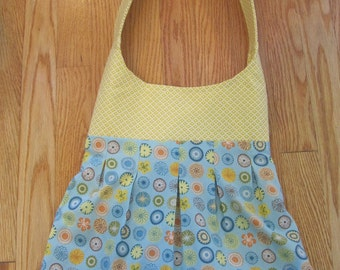 Yellow and Blue Cotton Pleated Shoulder Purse
