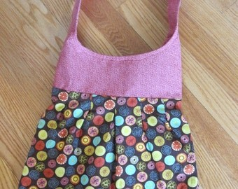 Brown, Pink, Yellow Cotton Pleated Shoulder Purse