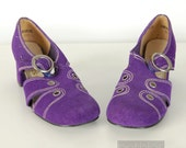 Purple Suede Shoes with Chunky Heel Mod Vintage 60s Size 9 Simpsons Sears