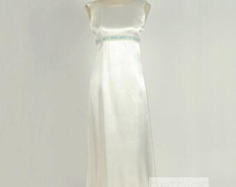 Off White Satin Wedding Dress Evening Prom Vintage 50s Ice Blue Velvet Ribbon Size Small