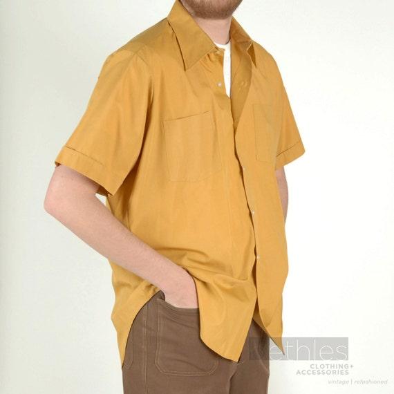 Mens Short Sleeve Mustard Yellow Shirt Vintage 70s Eatons