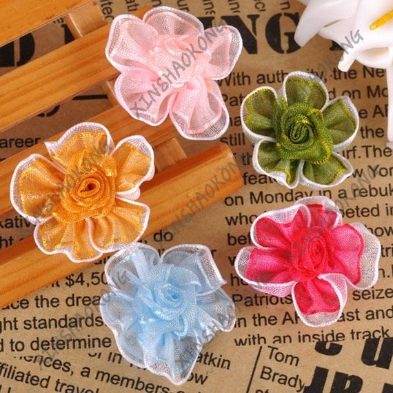 20 ea. Small Satin Ribbon Mixed Colors Flower Appliques