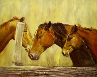 The Watering Hole, An Original Oil Painting On Canvas