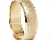 Mens Hammered 14K Yellow Gold 6 MM Wedding Ring Band Size 7 - 12