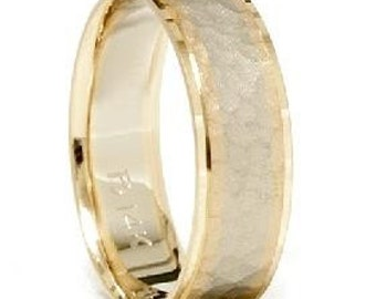 Hammered Gold Ring Band Mens 14K White Yellow 2 Two Tone