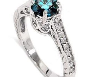 Blue Diamond Vintage Engagement Ring 1.23CT Blue Diamond Vintage Engagement Ring 14K (Sizes 4-9)