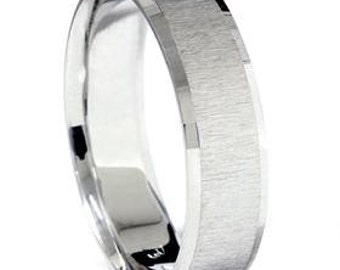 Mens 14K White Gold 6 MM Textured Comfort Fit Flat Wedding Ring Band Size 7-12