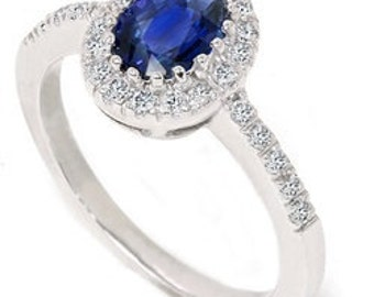 Blue Sapphire Ring, Sapphire Diamond Halo Ring 1.30CT Oval Blue Sapphire Halo Diamond Ring 14K White Gold