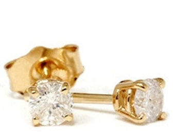 0.33CT Diamond Studs Earrings 14K Yellow Gold